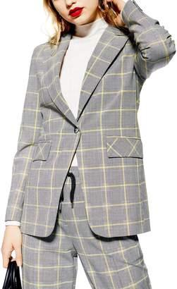 Topshop Windowpane Check Suit Jacket