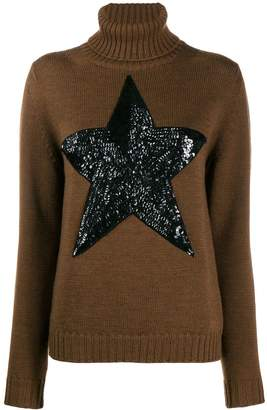 P.A.R.O.S.H. roll neck star patch sweater