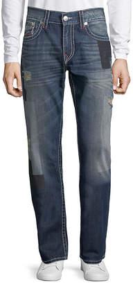 True Religion Big T Distressed Straight-Leg Jeans