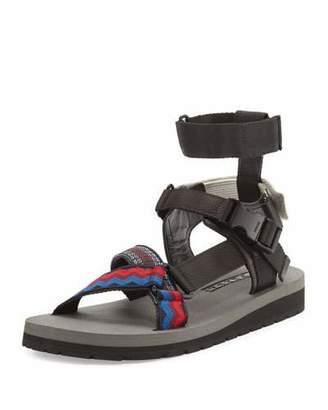 Prada Runway Nylon Strap Sandal, Multicolor/Black $495 thestylecure.com