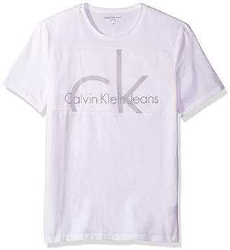 Calvin Klein Jeans Men's Short Sleeve Mesh Chest Panel Crew Neck T-Shirt