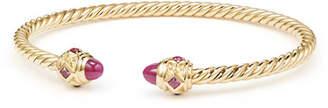 David Yurman 18k Gold Renaissance CableSpira Bangle Bracelet w/ Rubies, Size M
