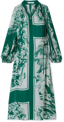 ec2c7cb0300 Tibi Leilani Oversized Printed Silk Midi Dress - Emerald