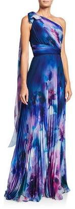 Marchesa Watercolor One-Shoulder Pleated Chiffon Gown w/ Draped Bow