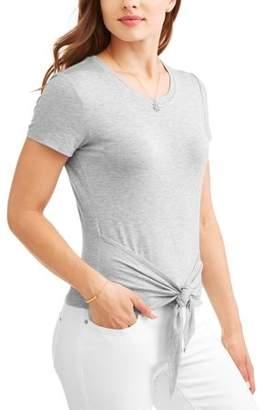 No Boundaries Juniors' Tie Wrap Front Short Sleeve Tee