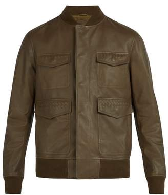 Bottega Veneta Intrecciato Detailed Leather Bomber Jacket - Mens - Green