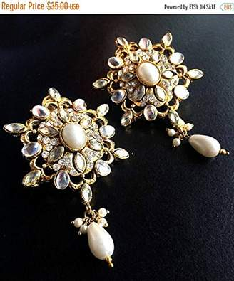 Crystal Pearl KASHMIRI PEARL Earrings,Wedding jewellery,Indian Bridal kashmiri Earrings,Exclusive by Taneesi Yp232P