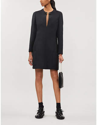 Stella McCartney Brooch-embellished wool-blend shift dress