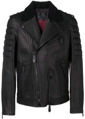 Philipp Plein biker jacket with shearling collar