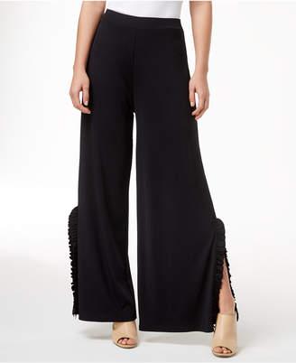 Kensie Ruffle-Trim Wide-Leg Pants