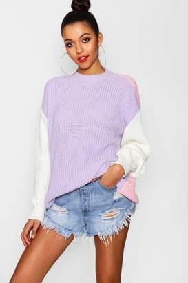 boohoo Neena Oversized Colour Block Knitted Jumper
