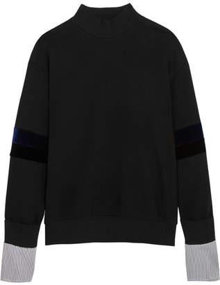 Sjyp Velvet And Striped Poplin-paneled Cotton-jersey Sweatshirt - Black