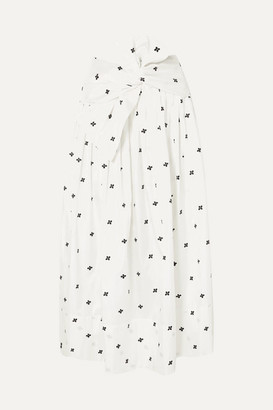 Ulla Johnson Aglae Bow-detailed Embroidered Taffeta Midi Skirt