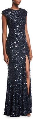 Rachel Gilbert Metallic Beaded Cap-Sleeve Gown