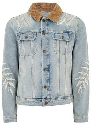 Topman Mens Blue Light Wash Embroidered Borg Collar Jacket