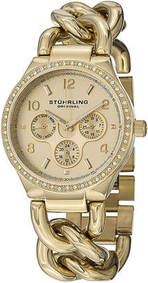 Stuhrling Original Sthrling Original Womens Crystal-Accent Gold-Tone Stainless Steel Chain Bracelet Watch