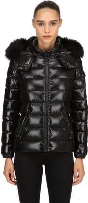 Moncler Bady Laqué Nylon Down Jacket W/ Fur