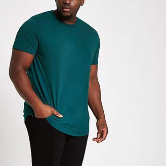 River Island Mens Big and Tall Blue curved hem T-shirt