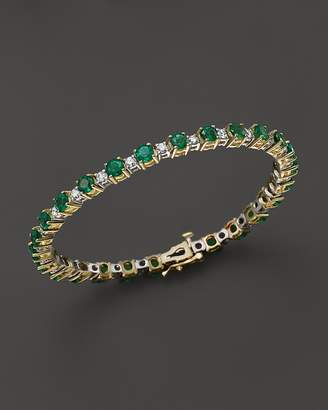 Bloomingdale's Emerald and Diamond Bracelet in 14K Yellow Gold - 100% Exclusive