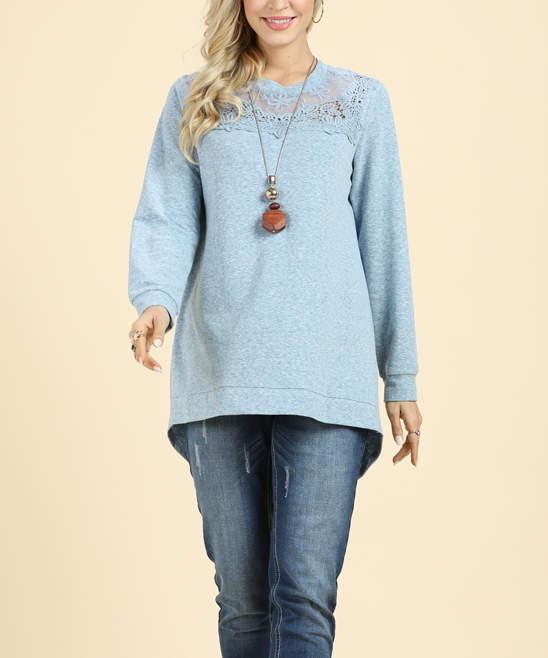 Light Blue Lace-Yoke Sweatshirt – Women