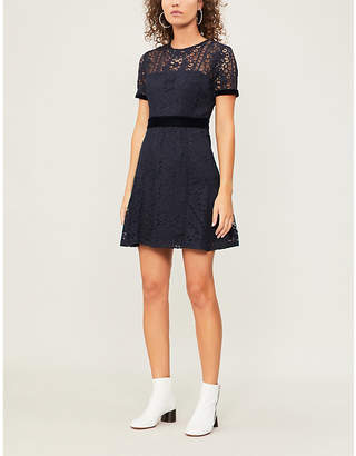 Claudie Pierlot Velvet-trimmed lace mini dress