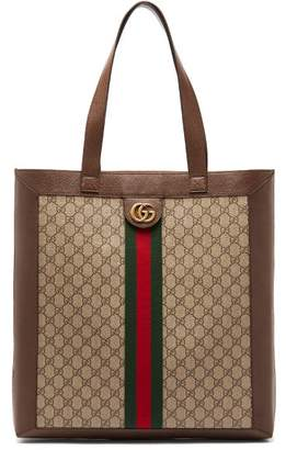 Gucci Gg Supreme Leather And Canvas Tote - Mens - Beige