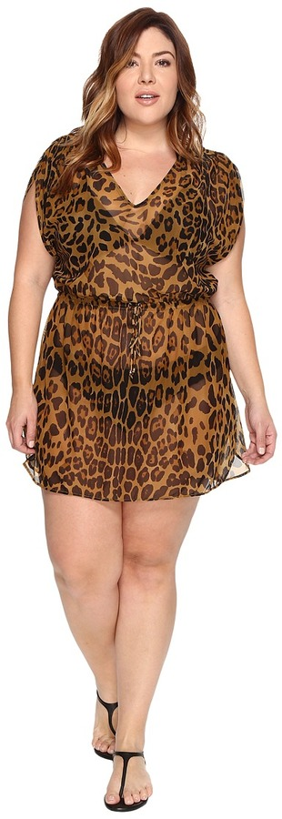 Lauren Ralph Lauren LAUREN Ralph Lauren - Plus Size Leopard Tunic Cover-Up Women's Swimwear