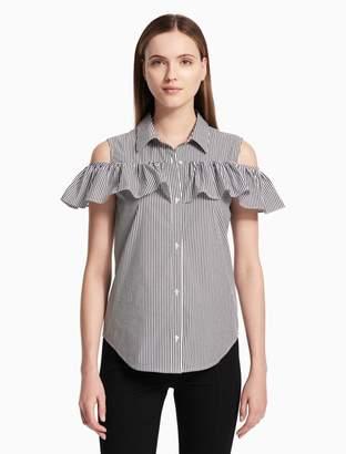 0a7b2705e7ca6 Calvin Klein striped cold shoulder ruffle sleeve blouse