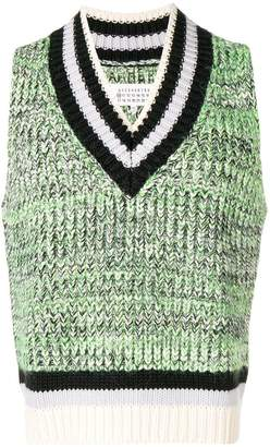Maison Margiela stripe detail sleeveless sweater