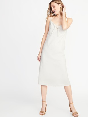 Old Navy Tie-Front Linen-Blend Midi Dress for Women