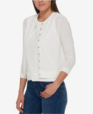 Tommy Hilfiger Lace-Front Cardigan, Only at Macy's $79.50 thestylecure.com