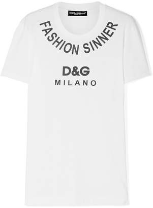 Dolce & Gabbana Printed Cotton-jersey T-shirt - White