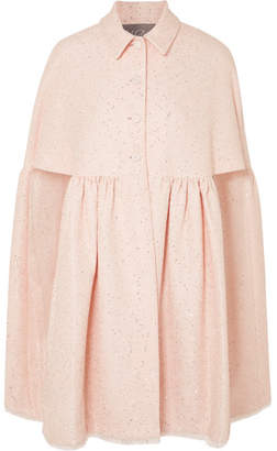 Lela Rose Sequined Tweed Cape - Pastel pink