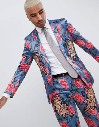 Asos Edition EDITION skinny suit jacket in blue floral print with tiger patches