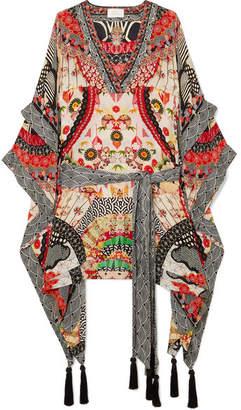 Camilla Embellished Printed Silk Crepe De Chine Kaftan - Cream