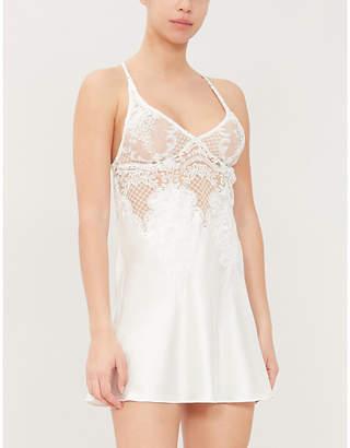 I.D. Sarrieri Bella Bridal stretch-silk and floral lace slip dress
