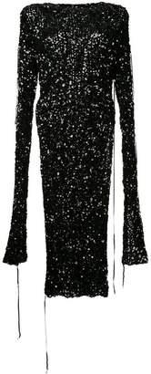 Ports 1961 sequinned slit sleeve dress