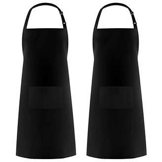 Syntus 2 Pack 100% Cotton Adjustable Bid with 2 Pockets Cooking Kitchen Aprons for Women Men Chef