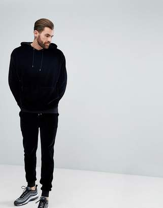 Asos Tracksuit Set Oversized Hoodie/ Skinny Jogger In Velour