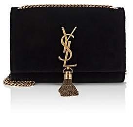 Saint Laurent Women's Monogram Kate Small Velvet Chain Bag - Black