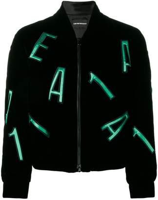 Emporio Armani letters embellished bomber jacket