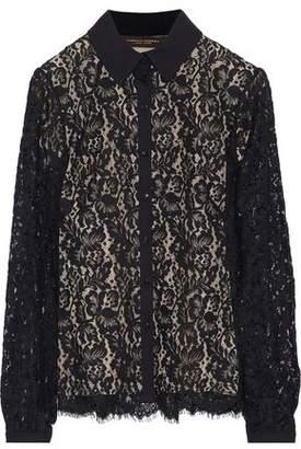Carolina Herrera Silk Satin-Trimmed Cotton-Blend Corded Lace Shirt