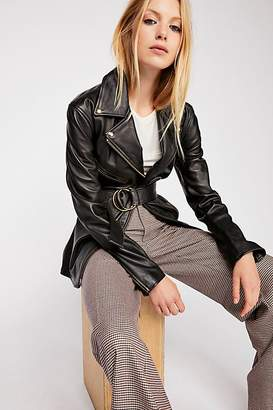 Understated Leather Cinched Waist Leather Tie Jacket