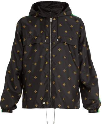 Gucci Bee and star-jacquard shell hooded jacket