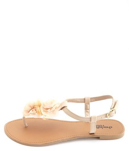 Charlotte Russe Chiffon Rosette T-Strap Thong Sandals