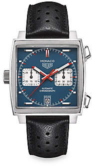 Tag Heuer Monaco 39MM Calibre 11 Stainless Steel & Perforated Black Leather Strap Automatic Chronograph Wa