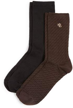 Ralph Lauren Cable Trouser Super Soft Socks, Set of 2