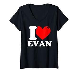 Womens I Love Evan V-Neck T-Shirt