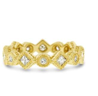 18k Yellow Gold 0.42ct. Diamond Filigree Design Circle Box Eternity Band Size 4.75