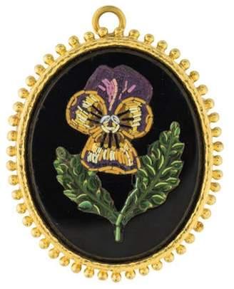 Elizabeth Locke 19K Resin & Onyx Micro-Mosaic Brooch Pendant